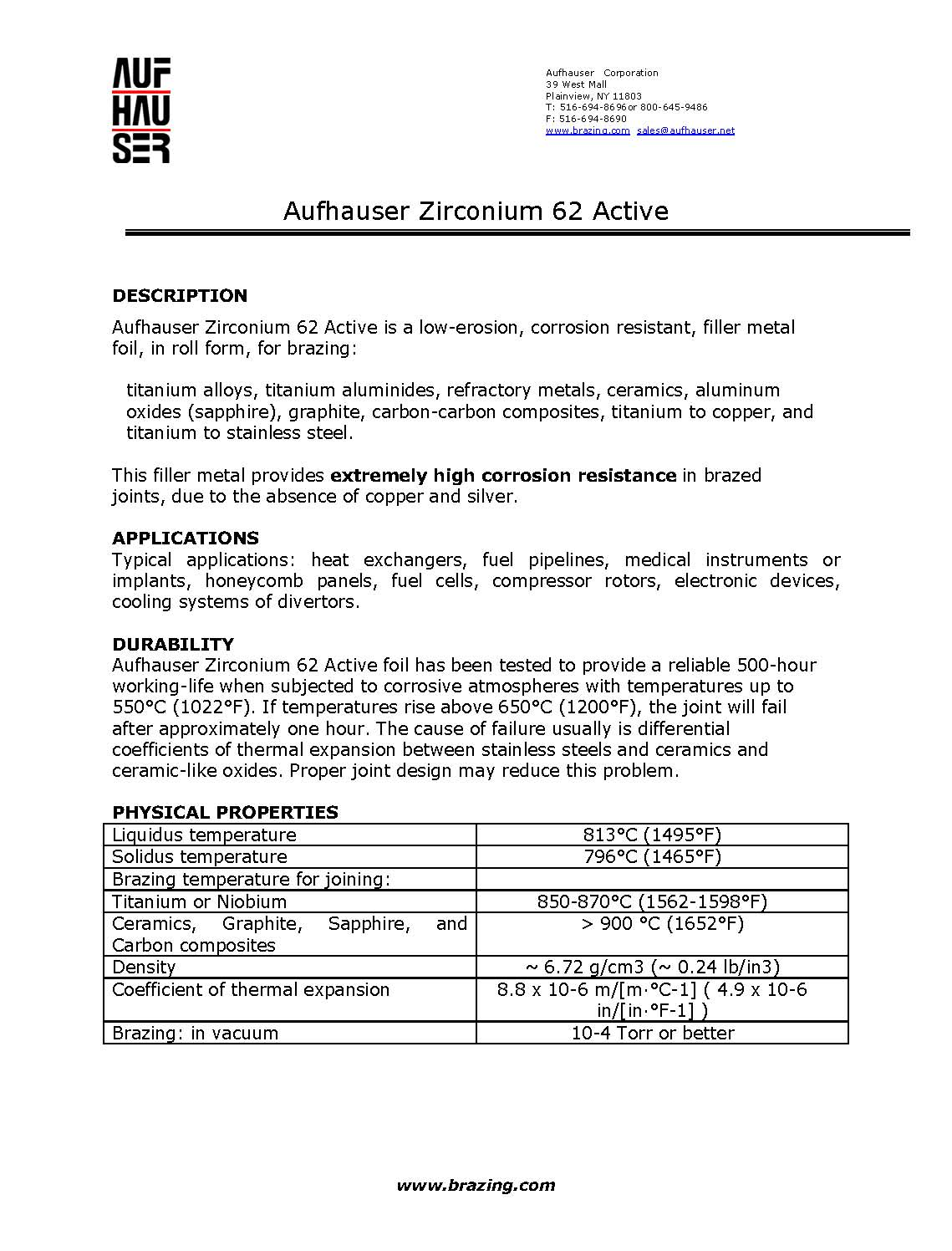 Aufhauser Foils Zirconium 62 Active